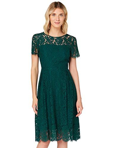 Amazon-Marke: TRUTH & FABLE Damen Midi A-Linien-Kleid aus Spitze, Grün (Deep Petrol), 38, Label:M