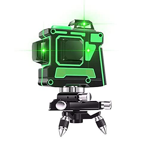 Nivel láser de 12 líneas Nivel infrarrojo verde autonivelante para construcción al aire libre colgar cuadros luz verde giratoria 3D 360 Nivel de línea automático Kit de láser giratorio