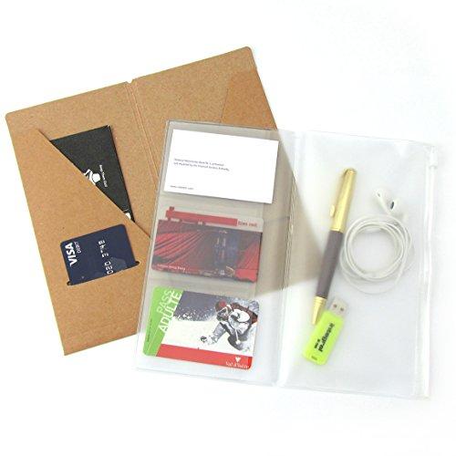 Kraft-Aktenordner + Nachfüllpackung für Reißverschlusstaschen für Standardreisende Notebook 22 x 12cm - Brauner Kartenhalter + PVC-Tascheneinsatz für Lederjournale