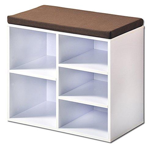 Kesper Schuhschrank mit Sitzkissen, Holz, weiß, 51 x 29.5 x 48 cm