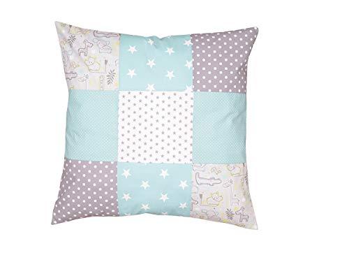 Funda patchwork para cojín de ULLENBOOM ® con safari menta (funda para cojín de 60x60 cm; 100% algodón; ideal como cojín decorativo o de adorno para la habitación de los niños)