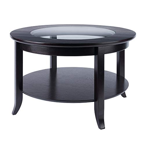 Rustic Round Glass Coffee Table for the Living Room