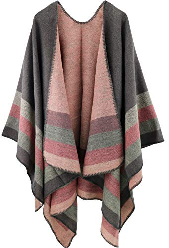 Shmily Girl Femme Cape Poncho Extra Large écharpe Châle Blanket Poncho Automne Hiver (One Size, Rayé/Gris)