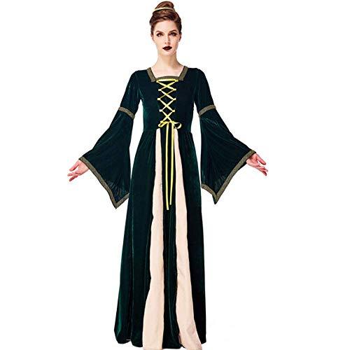 Gogh Dames Middeleeuws Kostuum met 1 Stks Hoofddeksel, Middeleeuwse Tudor Halloween Rol Cosplay Aristocratische Hof Jurk met Korset en Wijde Mouwen voor Halloween Ball