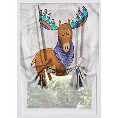 LCGGDB Moose Blackout Small Window Curtain,Ornamental Deer with Antlers Room Darkening Rod Pocket Curtains Balloon Shades for Small Windows, Doors, French Doors, Kitchen Windows,39'x63'