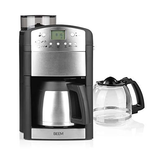BEEM FRESH-AROMA-PERFECT Filterkaffeemaschine mit Mahlwerk - Duo | Glas- und Isolierkanne | 24h-Timer | 1000 W | Warmhalteplatte