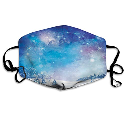 ComfortableWindproofFacecover,Christmas Themed Abstract Snow Winter Scenery Pine Trees,PrintedFacialDecorationsfor adult