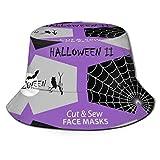 SPACEMASKS Hallow&EEN - Máscara facial con recortes en negro, gris y blanco, sombrero de pescador transpirable con impresión completa plegable
