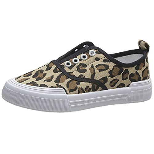 JXILY Zapatillas Lona Mujer Zapatos Casuales con Plataforma Unisexo Tenis Deporte Casual y Caminar Zapatillas Puntera Goma,Leopard Print,35