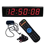 Ledgital Countdown Timer Cock, Digital Wall Clock for Conference/Church/Classroom/Gym with EMOM Timer, Large Wall Mount Digial Wall Clock with 12/24 Hour Display, w/ IR Remote