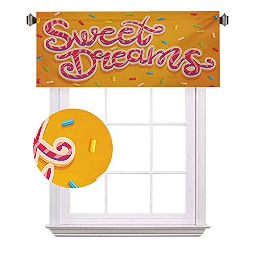 Sweet Dreams - Cortinas de media ventana, dibujadas a mano, diseño de letras sobre fondo cálido, adecuado para pequeñas ventanas en cocinas y baños, ancho 122 x largo 18 pulgadas, multicolor
