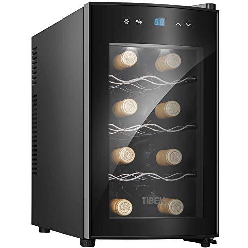 Cantinetta Vino,25L, 8 Bottiglie Mini Frigo Bar Frigorifero per Vini e Bevande, Temperatura digitale del tocco di 8-18 ° C, Illuminazione interna a LED, Nero (Arrivo entro 5 giorni)