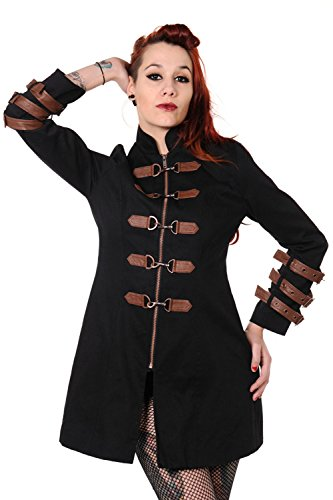 Black & Copper Victorian Steampunk Style Buckles Jacket (Size S)