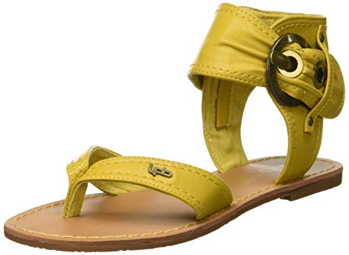 Sandalias amarillas planas de Punta Descubierta para Mujer