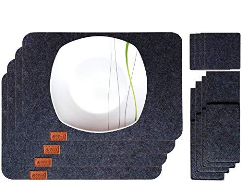 MIGHTY PEAKS 12er Platz-Set, Tisch-Set, Filz-Untersetzer, Glas-Untersetzer, Tisch-Untersetzer | Dekoration Wohnung Modern | Grau, Anthrazit | Platz-Deckchen abwaschbar