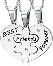 MG Jewelry Stainless Steel Heart Shape Matching 3 Piece BFF Best Friend Necklaces for 3 for Teens Girls, 19