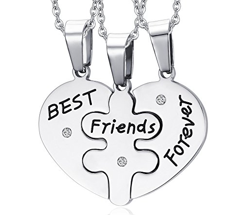 MG Jewelry Stainless Steel Heart Shape Matching 3 Piece BFF Best Friend Necklaces for 3 for Teens Girls, 19  Chain, for BFF