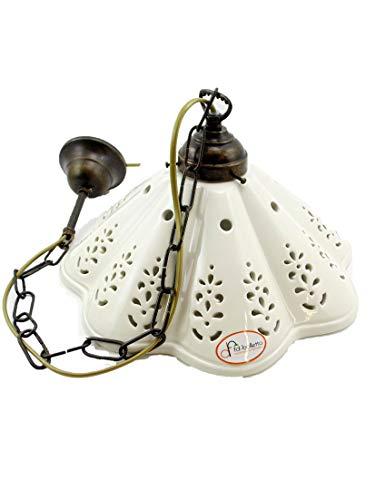 Lampadario ottone brunito stelo a catenella sospensione una luce stile liberty con piatto ceramica bianco traforato l1054 Misure:H 74cm,Ø piatto 31cm.Le misure sono con piatto.Attacco Edison E 27