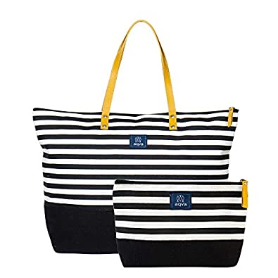 AQVA Women's Tote Bag with Zipper Pouch, Printed Cotton Canvas Tote Bag / Shoulder Bag with Top Zip & Leather Handles, Handbag for Travel, Work, Shopping, Beach, Office