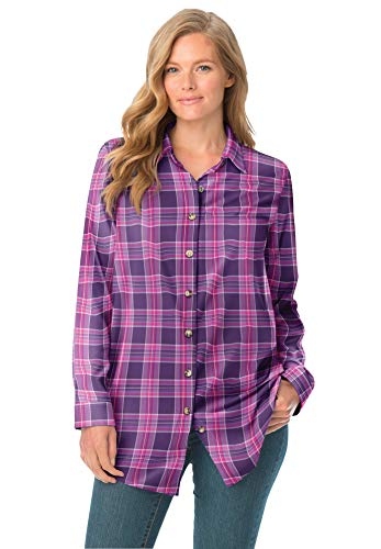 Woman Within Women's Plus Size Classic Flannel Shirt - 2X, Purple Multi Plaid
