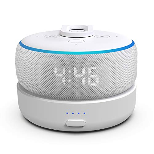 GGMM D3 Battery Base for Echo Dot 3rd Gen, Portable Amazon Echo Dot Accessories with 7 Hours Playtime, Wireless Battery Stand for Amazon Alexa Devices Smart Speaker Dot 3rd, White (Dot3 Not Include) …