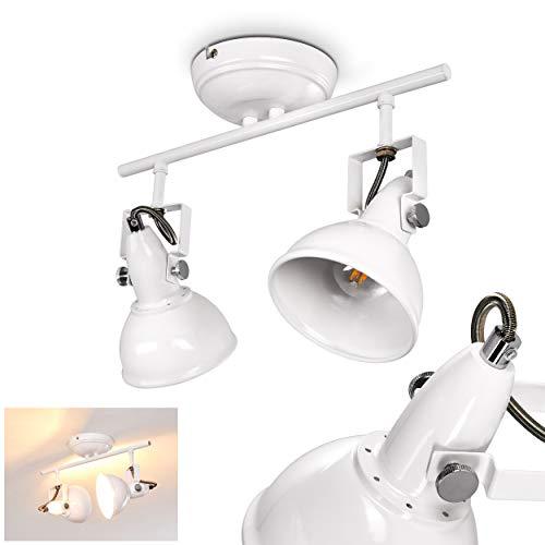 Lámpara de techo Tina de metal en blanco, 2 x E14, con focos ajustables, adecuada para bombillas LED, ideal para salón y dormitorio