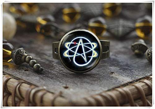 Anillo con símbolo ateista, anillo de átomo, joyería ateista, anillo de religión, anillo de hombre, regalo para ateo, anillo de ateo, un hermoso regalo