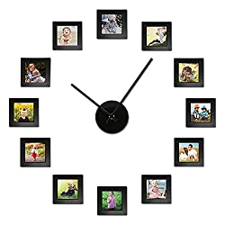 Wall DIY Photo Collage with Clock. Includes 12 Picture Frames (4x4) with Wall Hanging Template
