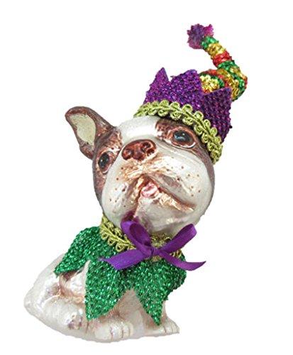 December Diamonds Glass Ornament - Boston Terrier, Mardi Gras Theme