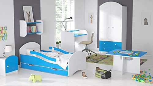 BDW Cama infantil juvenil 140, 160 y 180 con un cajón con colchón (140 x 70 cm), color azul