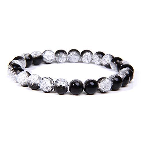 JINGGEGE Bracelets Natural Healing Energy Tiger Eye Bracelet Polished 8 Mm Lapis Lazuli Beads Bangle Elastic Men Women Jewelry (Length : 21cm, Metal Color : Craked quartz)