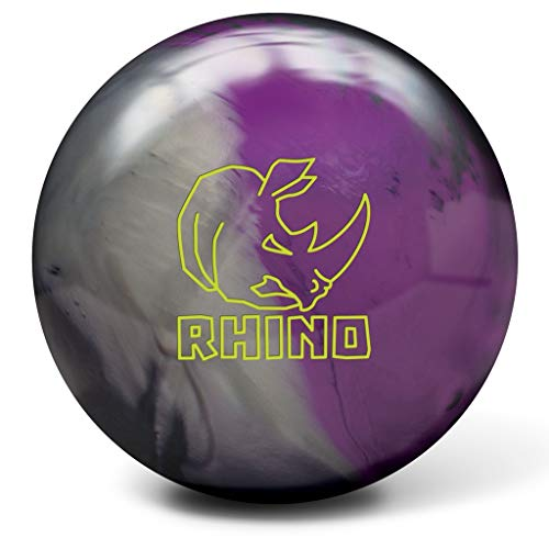 Brunswick Rhino Reactive Bowlingball, Anthrazit/Silber/Violett, Unisex-Erwachsene, Brunswick Rhino Reactive Bowling Ball- Charcoal/Silver/Violet 14lbs, Charcoal/Silver/Violet, 14