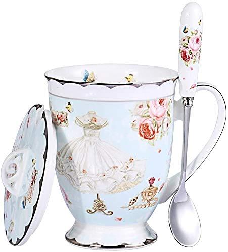 Lifattitude Style Art Teetasse / Kaffeetasse aus feinem Porzellan, mit Deckel, für Frühstück, Zuhause, Küche, Schmetterling-Motiv, Rosa (Blau)