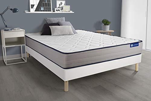 Matras met pocketvering en traagschuim Actiflex vorm 180 x 200 cm 5 comfortzones + lattenbodem wit – dikte: 22 cm – comfort: stevig.