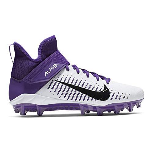 Nike Men's Alpha Menace Pro 2 Mid Football Cleat White/Black/Court Purple Size 11 M US