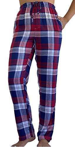 Pantalon de Pijama para Mujer 100% Algodon Tejido Suave Casual y Comodo (L, Rojo)