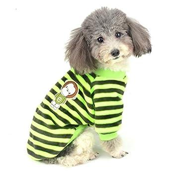 ZUNEA Pull-Overs pour Petit Chien en Polaire Super Doux à Rayures Manteaux d'hiver pour Pet Chat Chiot VêTements Chauds Noel Costume Chihuahua Sweat Pull Jaune L