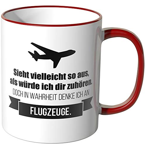 JUNIWORDS Tasse - Ich denke an Flugzeuge - Wähle Motiv & Farbe - Rot
