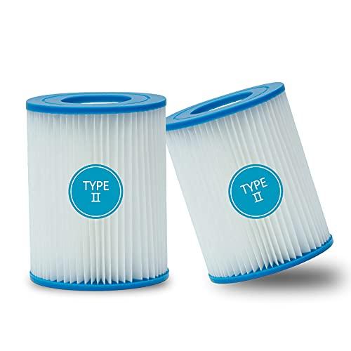 YQBRJL Filterpatronen für Pool Typ II, Pool-Filterkartusche für Swimmingpool Pumpen Intex or Bestway Gr. 2, Geeignet für Bestway 58094 Filterkartusche für Pool,für Bestway 530/800 gal/h Filter (2pcs)