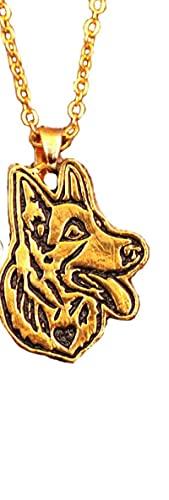 xtszlfj Lindo Collar de Pastor alemán Perro Animal Colgante Antiguo Oro Plateado...
