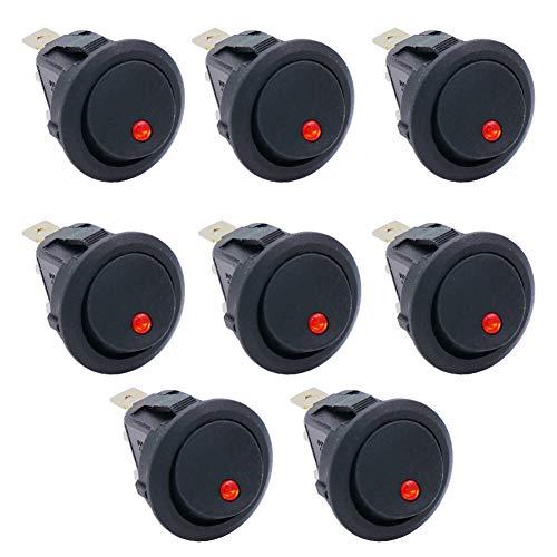 Taiss/8 Stücke Kippschalter 20A 12 V DC EIN/AUS SPST Mit Rotem LED-Licht Runde Wippschalter Button, Für Auto Oder Boot KCD2-102N-R