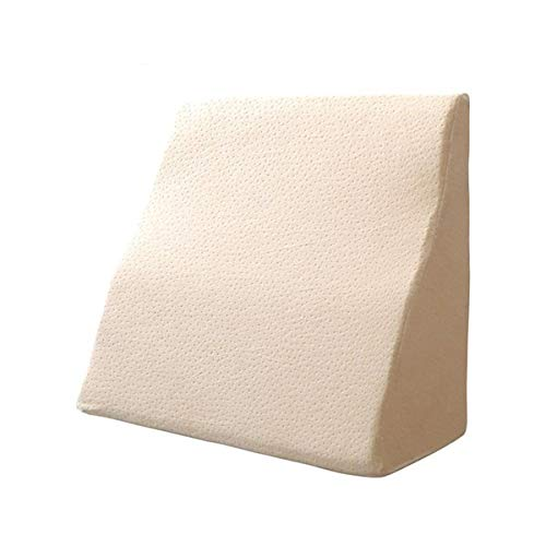 Memory Foam Triangle Wedge Cushion Bedside Large Pillow Positioning Support Waist Reading Pillow Rest Pillow (Color : Cream color, Size : 50X45X20cm)