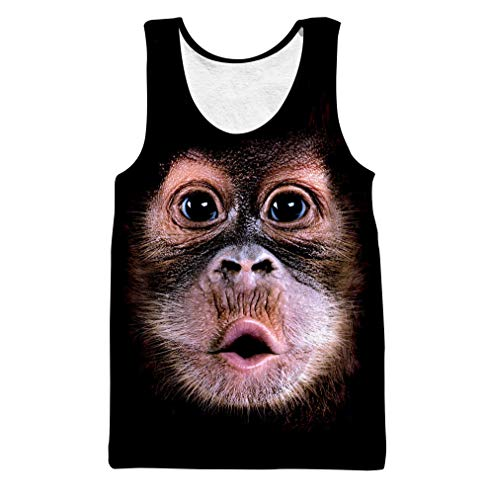 PIZOFF Unisex Sleveless Quickly Dry 3D Print Orangutan Work Out Compression Tank Top AG010-30-M