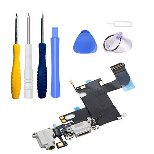 LTZGO Repuesto Conector Dock de Carga para iPhone 6 Blanco USB Data Charging Port Dock de repeusto con Cable Flex, Altavoz, Antena, Micrófono y Conexión Assembly Kit de herramientas con destornillador