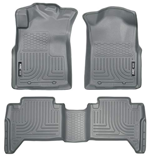 Husky Liners - 98952 Fits 2005-15 Toyota Tacoma Double Cab Weatherbeater Front & 2nd Seat Floor Mats (Footwell Coverage),Grey