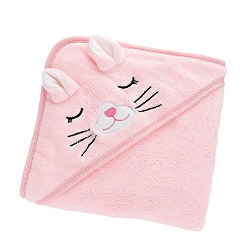 WangsCanis Asciugamani con Cappuccio per Neonati, Asciugamano da Bagno Super Morbido Avvolgente per Dormire per Neonati (Gatto, Taglia Unica)