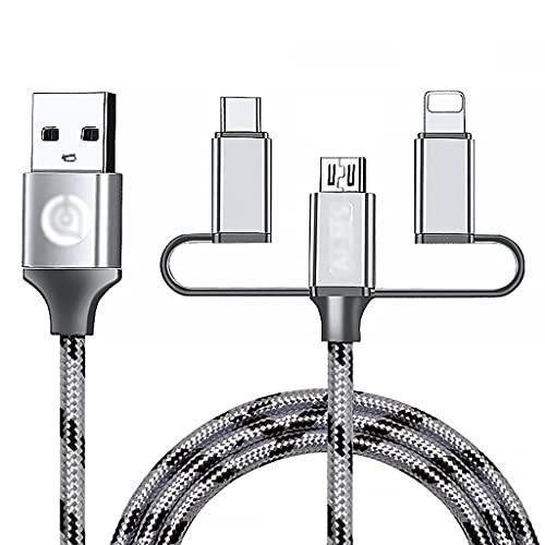LLRZ Conectores Cable Micro USB de Cable múltiple de 3 en 1 Cable Micro USB Cable de Nylon para teléfonos celulares y más (1,5 m) Accesorios (Color : Silver)