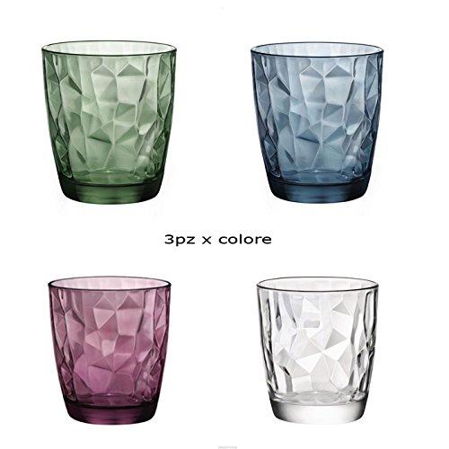 Bormioli Set 12 Bicchieri Bicchiere Trasparenti Viola Blu Verde Acqua BIBITA Cocktail 30cl DIAMANTATI Linea Diamond