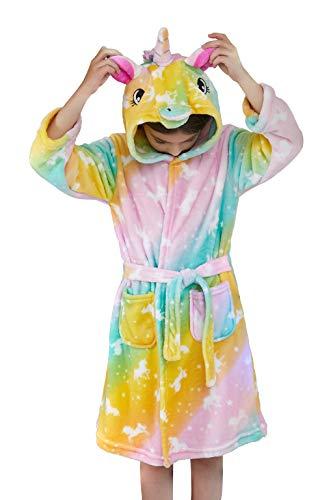 Msrlassn Kinder Weiches Einhorn Kapuzen Bademantel Nachtwäsche - Einhorn Geschenke für Mädchen (Regenbogen-Einhörner, 8-9 Jahre)