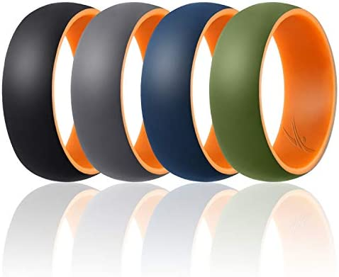 ROQ Silicone Wedding Ring for Men Duo Collection Dome Style 4 Pack Silicone Rubber Wedding Bands product image